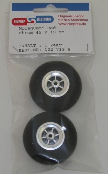 Moosgummi Räder 2 Stück 53mm chrom