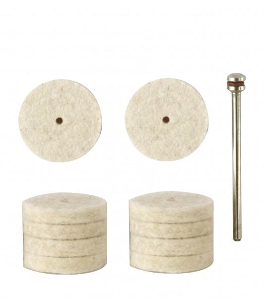 Filzscheiben, 22 mm, 10 Stück + 1 Träger