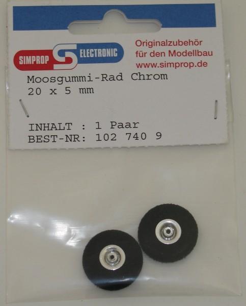 Moosgummi Räder 2 Stück 20mm chrom