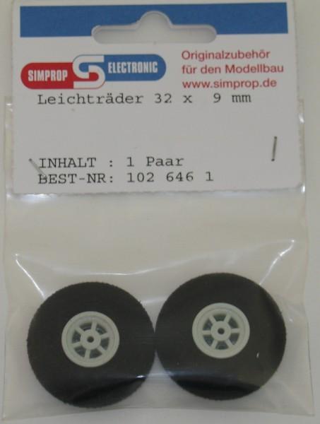 Moosgummi Räder 2 Stück 32mm chrom